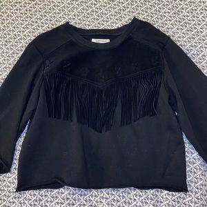 Current/Elliott sweater with real suede fringe